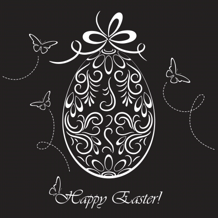 Floral Easter egg and butterflies on dark background, illustration  Stock Vector - 17940470