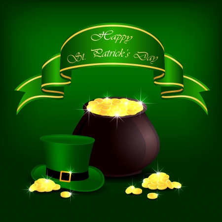 leprechauns hat: Hat and pot with leprechauns gold on green background, illustration.