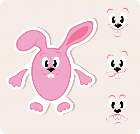 expression visage: Amusant lapin de P�ques avec diverses expression, illustration du visage Illustration