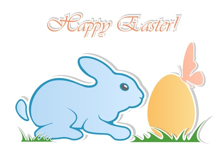amused: Amusing Easter rabbit with egg and butterfly, illustration.