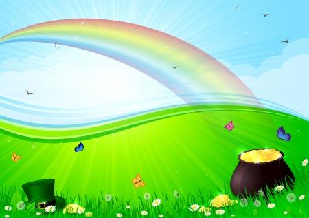 illustration herbe: Rainbow, pot d'or et chapeau lutins dans une herbe, illustration. Illustration