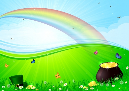 Rainbow, pot with gold and Leprechauns hat in a grass, illustration. Vector