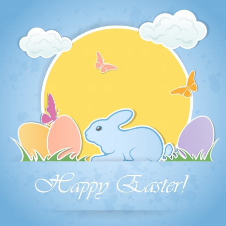Amusing Easter rabbit with eggs and butterfly, illustration. Stock Vector - 18085842