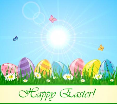 Easter eggs in the grass against a Sunburst, illustration Stock Vector - 18085846