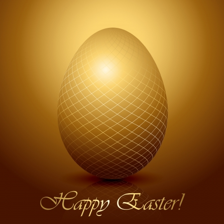 Golden Easter egg on brown background, illustration  Stock Vector - 18143768