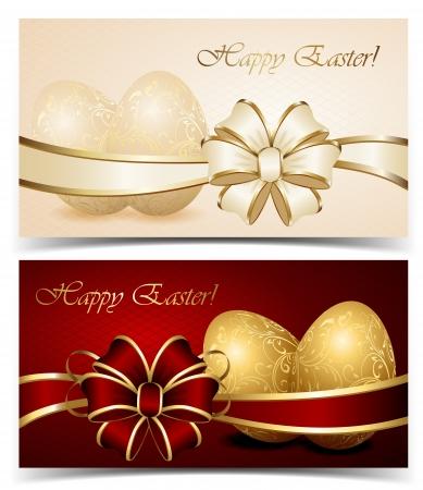 uova d oro: Due carte con le uova di Pasqua e la prua, illustrazione