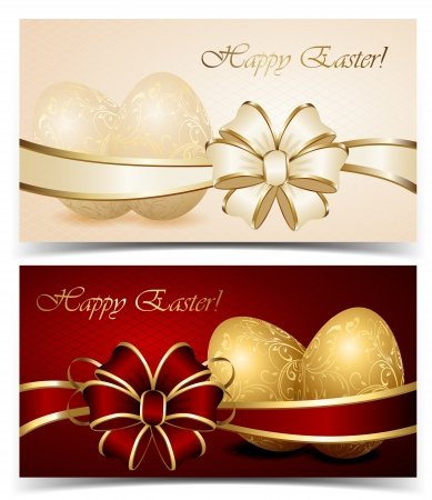 gold eggs: Two cards with Easter eggs and bow, illustration