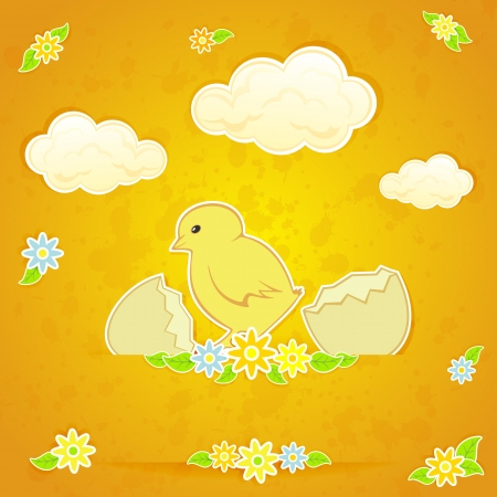 Amusing Easter chicken on orange background, illustration  Stock Vector - 18143772