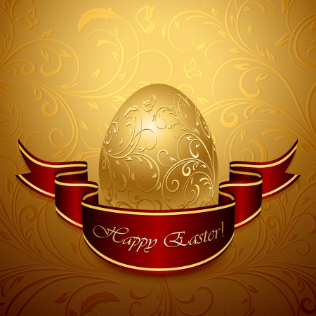 Golden Easter egg with decorative elements and ribbon, illustration. Stock Vector - 18143781