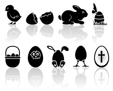 young rabbit: Ensemble d'icônes de Pâques en noir sur le fond, illustration blanche.