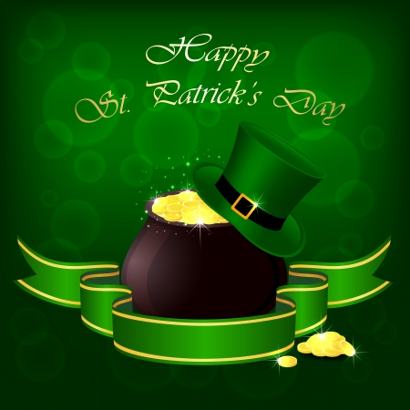 pot of gold: Hat and pot with leprechauns gold on green background, illustration.