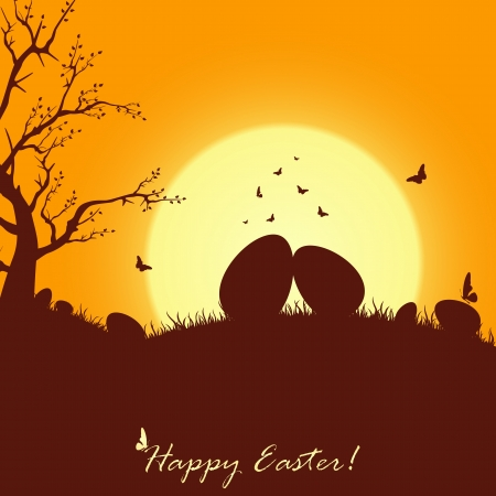 Easter card with eggs and butterfly, illustration. Stock Vector - 18204347