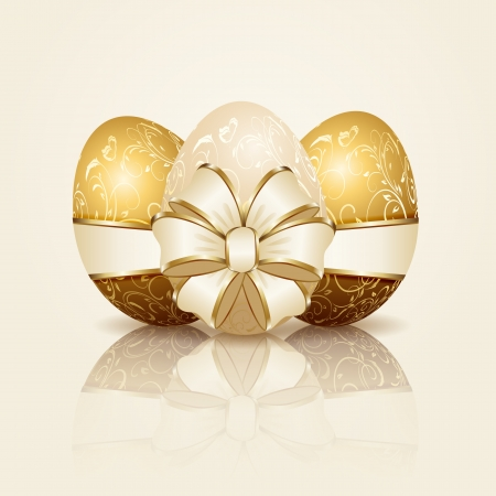 Three Easter eggs with decorative elements and ribbon, illustration. Vector