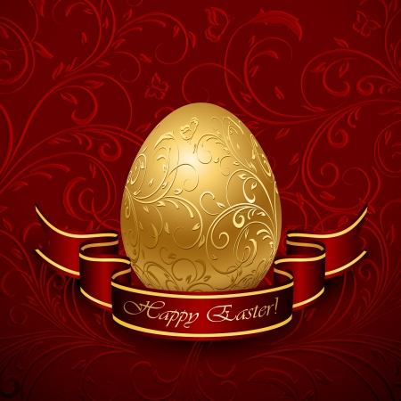Golden Easter egg with decorative elements and ribbon, illustration. Stock Vector - 18276426