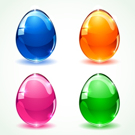 Set of colorful glossy Easter eggs, illustration Stock Vector - 18305651