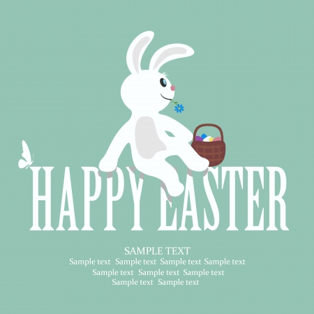 Easter card with a rabbit on letters, illustration. Stock Vector - 18337318