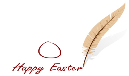 feather pen: Background with feather and Easter congratulation, illustration