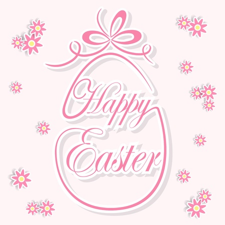 Decorative Easter egg and flowers on pink background, illustration. Stock Vector - 18427594