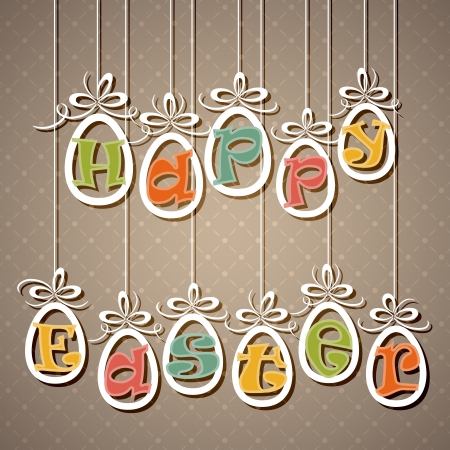 suspended: Paper Easter eggs with letters, illustration.