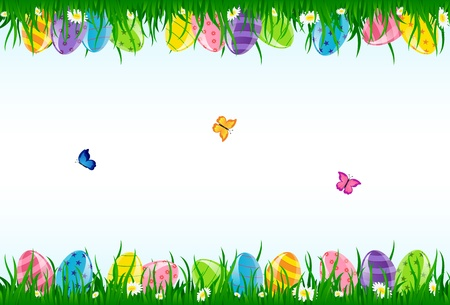 Easter eggs in the grass and butterflies, illustration. Vector
