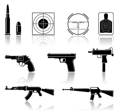 shooting gun: Set of black arms icons on white background, illustration.