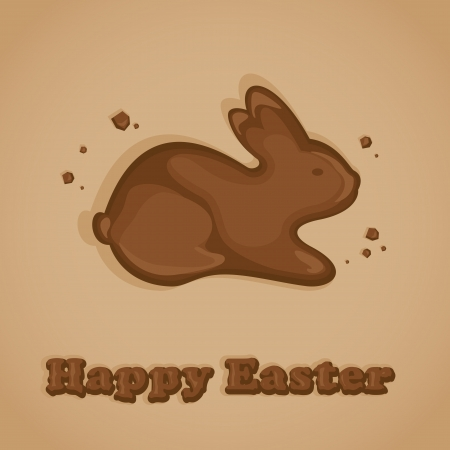 Chocolate Easter bunny on a beige background, illustration Vector
