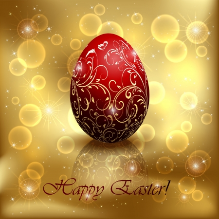 Red Easter egg with decorative elements on golden background, illustration. Stock Vector - 18708265