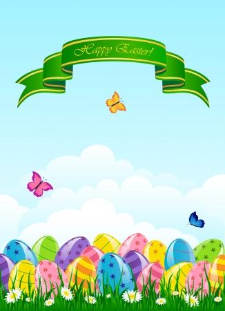 Easter eggs in the grass against the sky, illustration. Stock Vector - 18708263