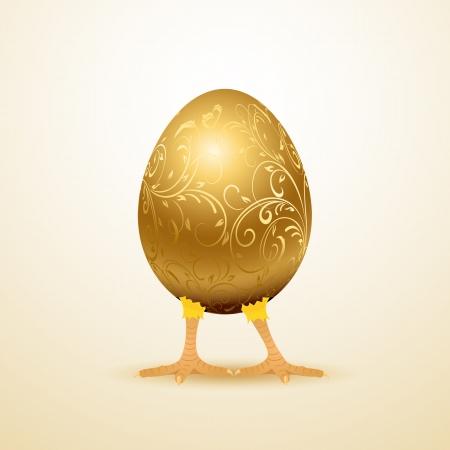 cracked egg: Little chicken in golden decorative egg, illustration.