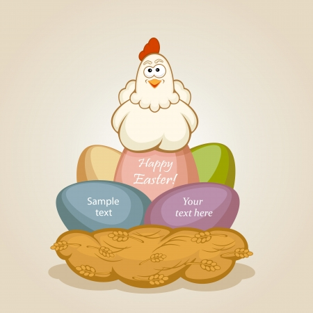 Hen in a nest on Easter eggs, illustration. Vector