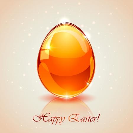 Glass Easter egg on pink background, illustration.