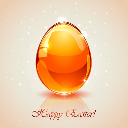 Glass Easter egg on pink background, illustration. Vector