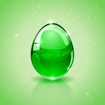 Glass Easter egg on green background, illustration  Vector