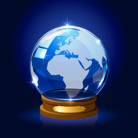 Blue shiny Globe with map on dark background, illustration Stock Vector - 18849942
