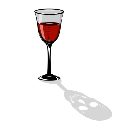 Red cocktail in a wineglass with a shadow in the form of a skull on white background, illustration. Vector