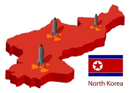 pyongyang: North Korea and nuclear bombs, illustration.