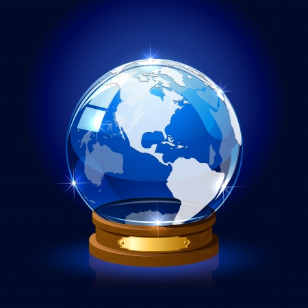 Blue shiny Globe with map on dark background, illustration Stock Vector - 18907411