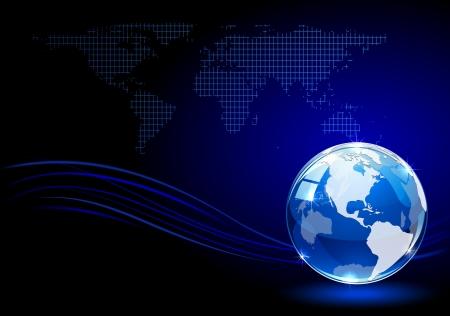 glowing earth: Blue shiny globe on dark background, illustration