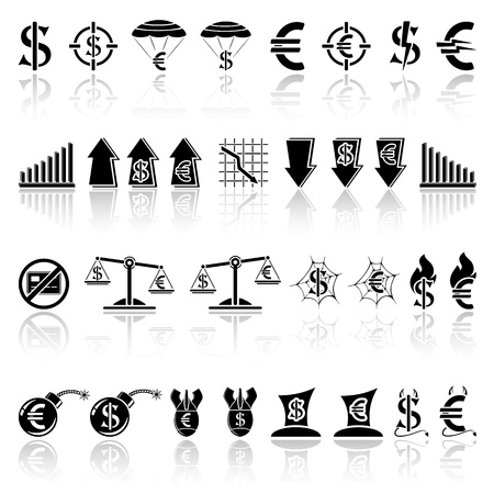 Set of black crisis icons, illustration. Stock Vector - 18990646