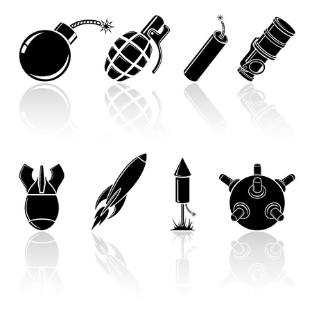 armaments: Set of black explosive icons, illustration. Illustration