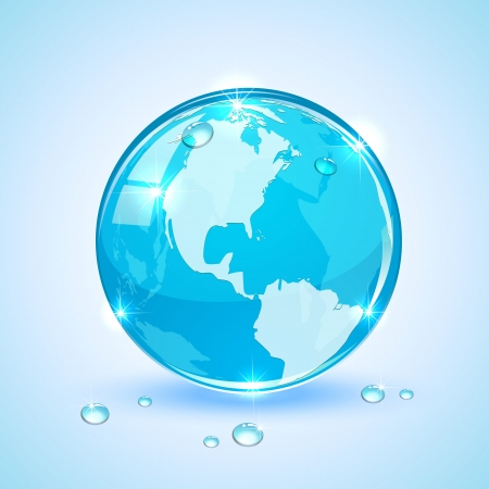 Shiny Globe with drops on blue background, illustration Stock Vector - 19022041