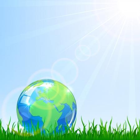 Shiny Globe in a grass on blue sky background, illustration Stock Vector - 19071168