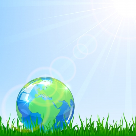 Shiny Globe in a grass on blue sky background, illustration Stock Vector - 19071168