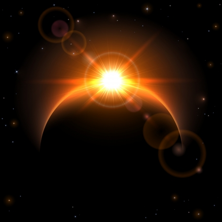cosmology: Space background with planet and shining sun, illustration.