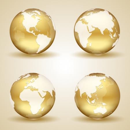 weltkugel asien: Set goldene Kugeln auf beigem Hintergrund, Illustration. Illustration