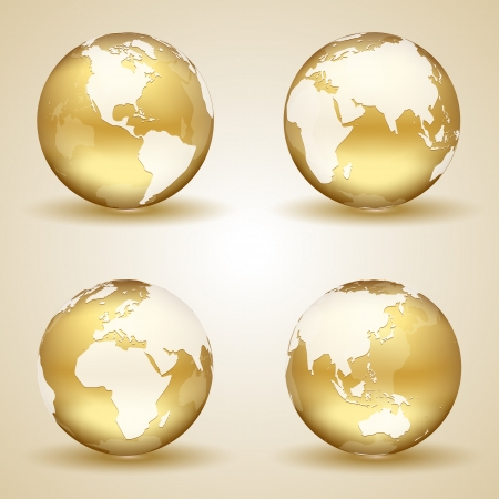 world globe map: Set of golden globes on beige background, illustration.