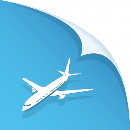 airplane ticket: White airplane on blue paper background, illustration.