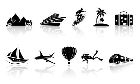 Set van zwart reizen iconen, illustratie.