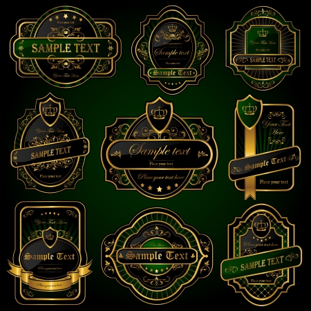 Set of Golden labels, illustration Vector