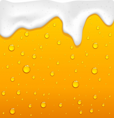 beer drinking: Drops and yellow drink with foam, illustration Illustration